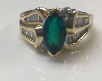 Vintage Lab Created Emerald Ring, 14kt gold and real diamond baguettes