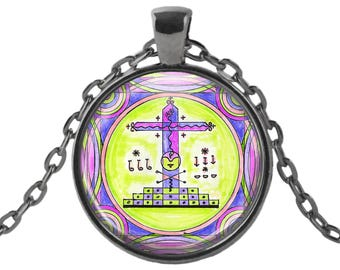 """Papa Gede Veve for Fast Money, Healing & Protection of Children Blessings Voodoo Glass Talisman Necklace Pendant in 1"""" Round  2"""" Huge Oval"""