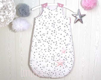 Baby sleeping bag 1-8months , white, grey and pink