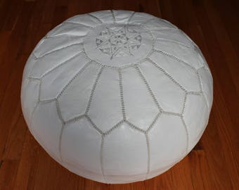 Moroccan leather footstool ottoman white