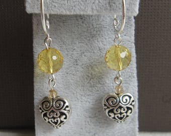 Earrings Hearts with citrine