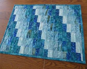 Custom, modern, aqua/teal batik bargello 12x21 wall hanging or table runner to brighten a room