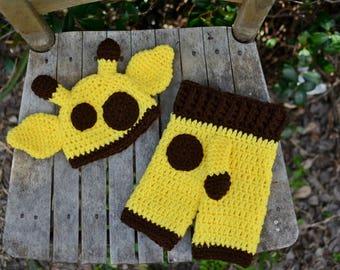 Giraffe Hat Crochet, Baby Giraffe Hat Pants, Animal Hat Crochet, Crochet Pants, Giraffe Hat Diaper Cover, Newborn prop, Photo prop