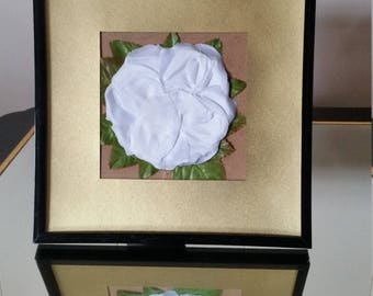 White Flower Picture Frame with Gold Border