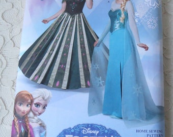 Simplicity 1215 or S0746 Sewing Pattern Disney Frozen Anna & Elsa Dresses Costume for Adults Size 6-12