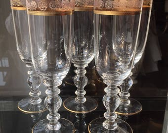 Crystal Glasses for Champagne with Gold Rim,5 x Bohemia Crystal Champagne Flutes,Wedding Glasses, Mid Century Barware & Bar Cart Accessories