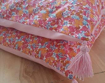 Floral pillow cover pink and tassels