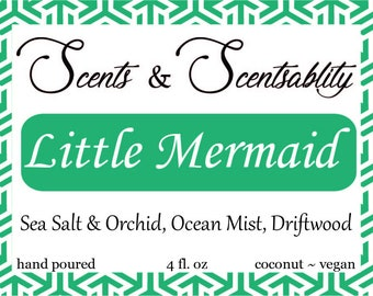 Little Mermaid - 4oz Coconut Candle - Book Lovers Candle - Scented - Bookish Candle - Literary Candle - scentsNscentsability