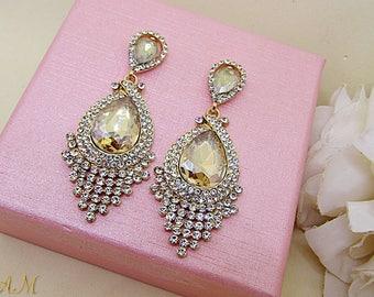 Gold Bridal Earrings, Wedding Jewelry, Champagne Earrings, Champagne Tear Drop Earrings, Champagne Teardrops, Drop Wedding Earrings