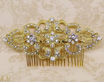 Art deco Hair Comb, Gold Hair Comb, Rhinestone Hair Comb, Gold Bridal Comb, Bridal Hair Jewelry, Vintage Wedding Hair Comb, Bridal Headpiece