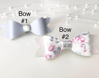 Set Of 2 Bows||Pearly Pewter Grey||White Floral|| Faux Leather||Headband Or Clip