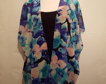 Handmade Chiffon Kimono - Blue / Floral - Fits up to Size 20   Kimono Jacket   Kimono Top   Kimono Dress   Kimono Robe   Kimono Cardigan