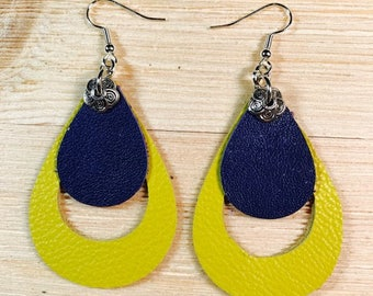 Leather earrings, cow leather, yellow, royal blue, stainsteel hooks, lightweight