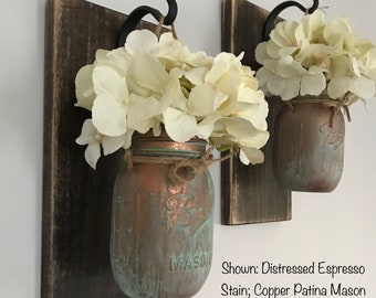 Hanging Sconce/Hanging Sconces/Mason Jar Sconces/Rustic Decor/Farmhouse Decor/Patina Paint/Mason Jar Decor/Rustic Home Decor/Hydrangea