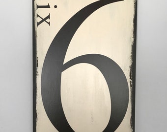 Number Sign/Family Number Sign/Wooden Number Sign/Wood Number Sign/Distressed Wood Sign/Wall Art/Farmhouse Wood Sign/Fixer Upper Decor