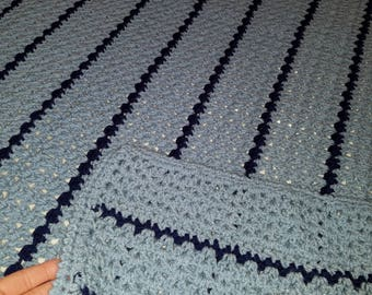 Light Blue and Navy Blue Afghan Throw