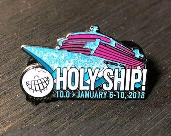 Holy Ship 10.0 Lapel Pin/Hat Pin w/ Blue Glitter