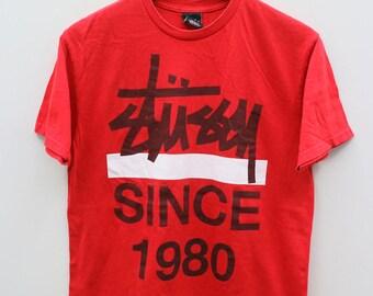 STUSSY Since 1980 Big Logo Streetwear Red Vintage Tee T Shirt Size M