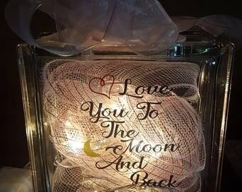 Valentine Lighted Glass Block