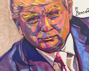 Colorful marker drawing of President Donald J Trump