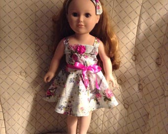 "18"" Doll Dress Handmade Cotton Blend, Sleeveless, Sundress, full skirt, matching headband, satin ribbon sash,"