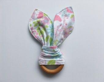 Maple Teething Ring, Bunny Ear Teething Ring, Baby Girl Teething Toy
