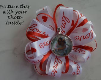 New Listing! Personalized Valentine's Photo Barrette, Valentine Hair Accessory, Custom Photo Barette, Red & White Ribbon, Personalized Bow