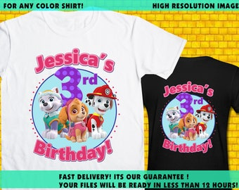 Paw Patrol Iron On Transfer / Paw Patrol Girl Birthday Shirt Transfer DIY / High Resolution / For Any Color Shirt / 12 Hours Turnaround Time