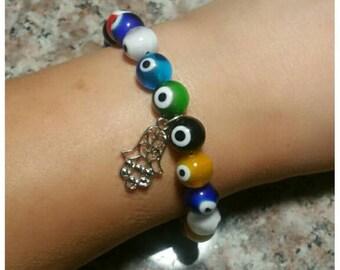 Eye beads with Hamsa Eye charm