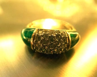 Attwood and Sawyer Rhinestone and Green Gold tone Ring