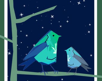 Night Birds Greeting Card - blank inside