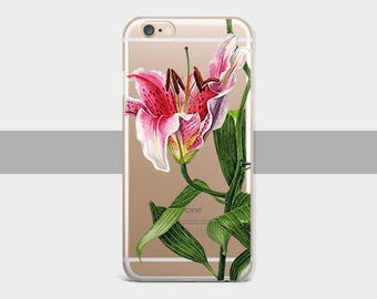 Flower Lily Case Phone 6s Case Floral, iPhone 5 Case Clear,iPhone 6 Case, Clear iPhone 6s Plus Case iPhone 5c Flower Case, iPhone 5s Case