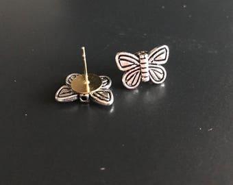 Silver Butterfly Stud Earring