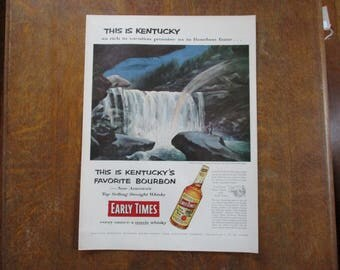 1954 Original Vintage Early Times Kentucky Straight Bourbon Whiskey ad