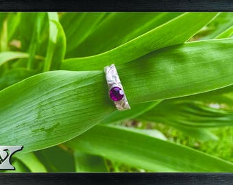 Sterling silver ring with zirconium, handmade