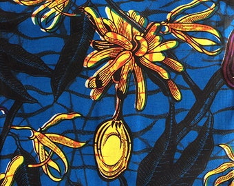 CottonBridge. African fabric cotton fabric textile - Blue and yellow