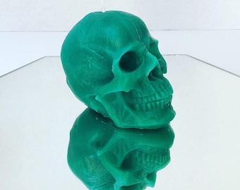 Turquoise Green Skull Candle