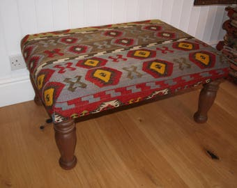 Handmade Kilim Covered Footstool with Solid Mahogany Legs, Large Size 90 x 65cm.