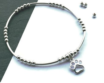 Sterling Silver Paw Charm Bracelet, Silver Paw Print Bracelet, Pet Jewellery, Silver Stacking Stretch Bracelet, Dog Gift, FREE DELIVERY