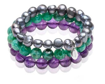 Beautiful bracelet made from amethyst,agate and baroque pearls