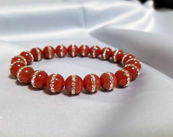 Red Agate Bracelet with Rhinestones - Anniversary, birthday - FREE card and gift box