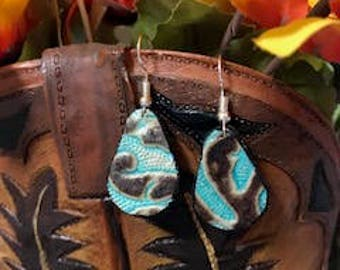 Turquoise/Brown Leather Earrings, Western Print, Teardrop Statement Earrings, Lightweight, Hypo Allergenic Earring Hook