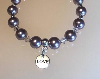 Swarovski Glass Pearl and Crystal Love Charm Bracelet