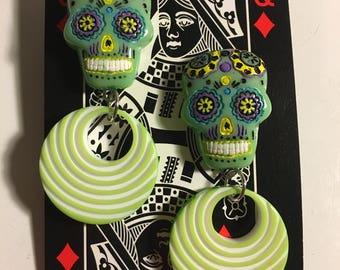 Sugar skull and hoop earrings
