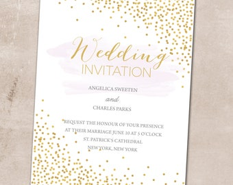 Wedding Invitation, Wedding Invitation with Matching RSVP and Other Information Card, Traditional Wedding Invitation, Confetti Wedding Inv