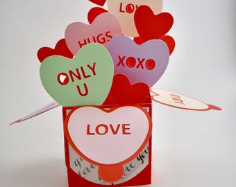 Candy Hearts 3D Card with Envelope - Pop-up Card - Customizable - Valentine's Day - Fold Flat Box Card - Pastel Colors