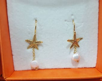 Earrings small starfish pendant with pearl