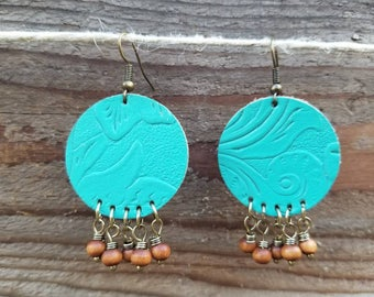 Turquoise Leather Earrings with Brown Beads