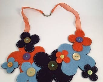 Funky Blue and Orange Daisy Yoke Necklace