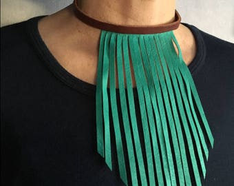 Turquoise choker leather necklace